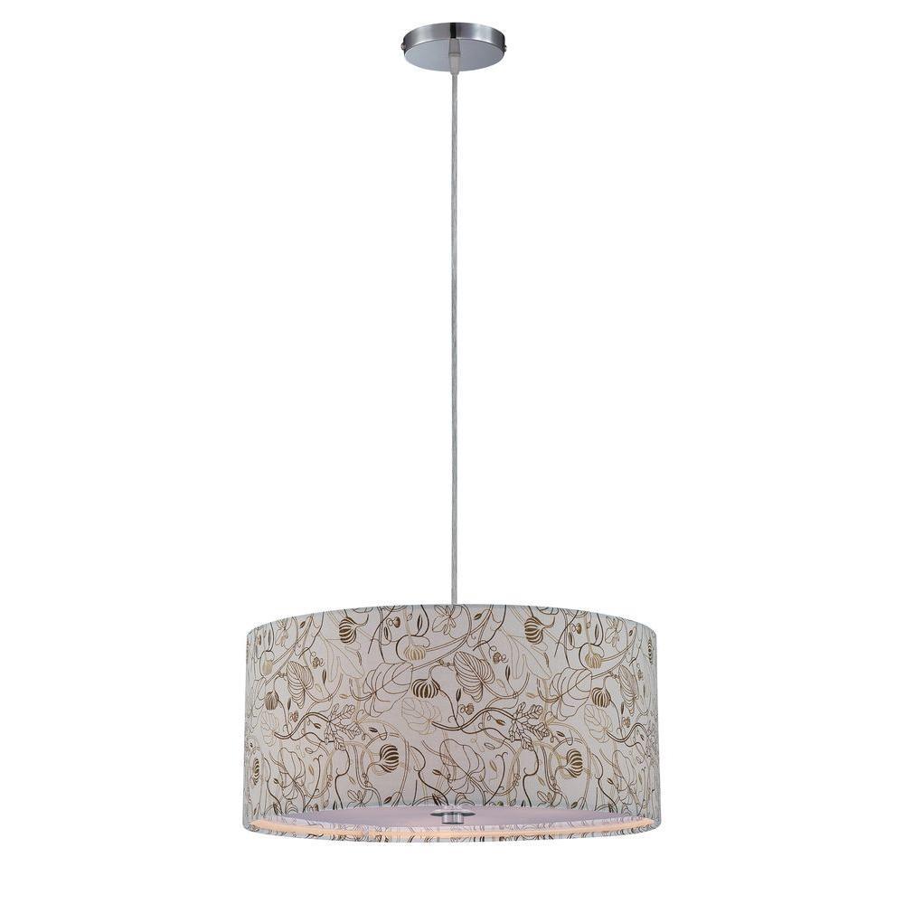Illumine Designer Collection 3-Light Steel Incandescent Ceiling Pendant