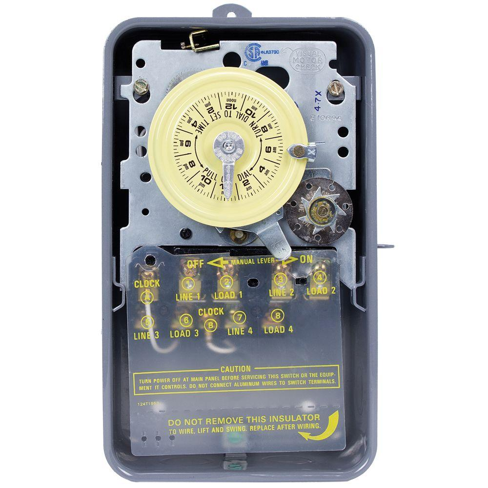 Intermatic T1400 Series 40 Amp 24-Hour Mechanical Time Switch with Skipper and Outdoor Enclosure - Gray
