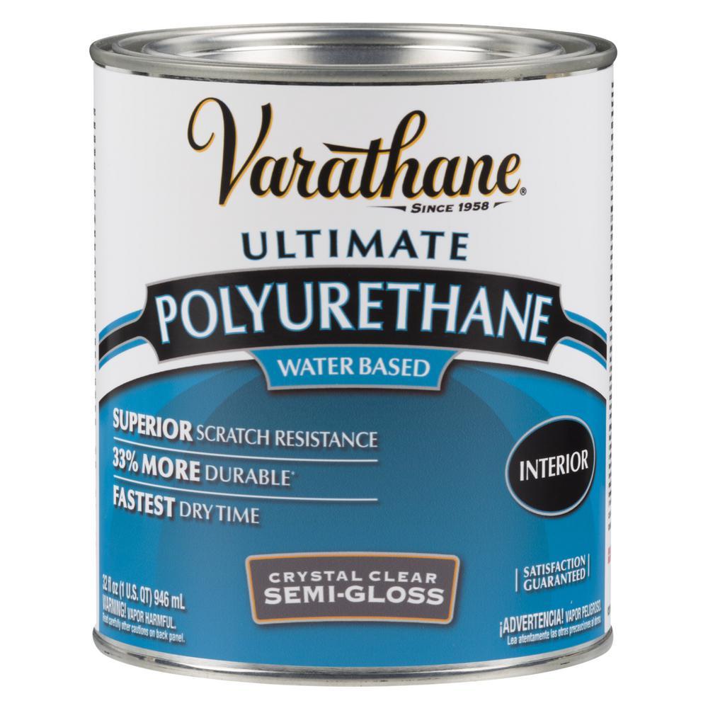Varathane 1 qt. Clear Semi-Gloss Water-Based Interior Polyurethane (Case of 2)