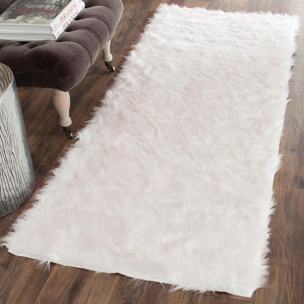 Faux Sheep Skin Ivory 3 ft. x 6 ft. Runner Rug