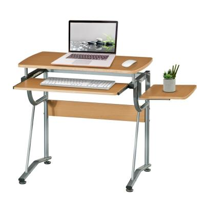 43 in. Rectangular Cherry/Silver Computer Desk with Keyboard Tray