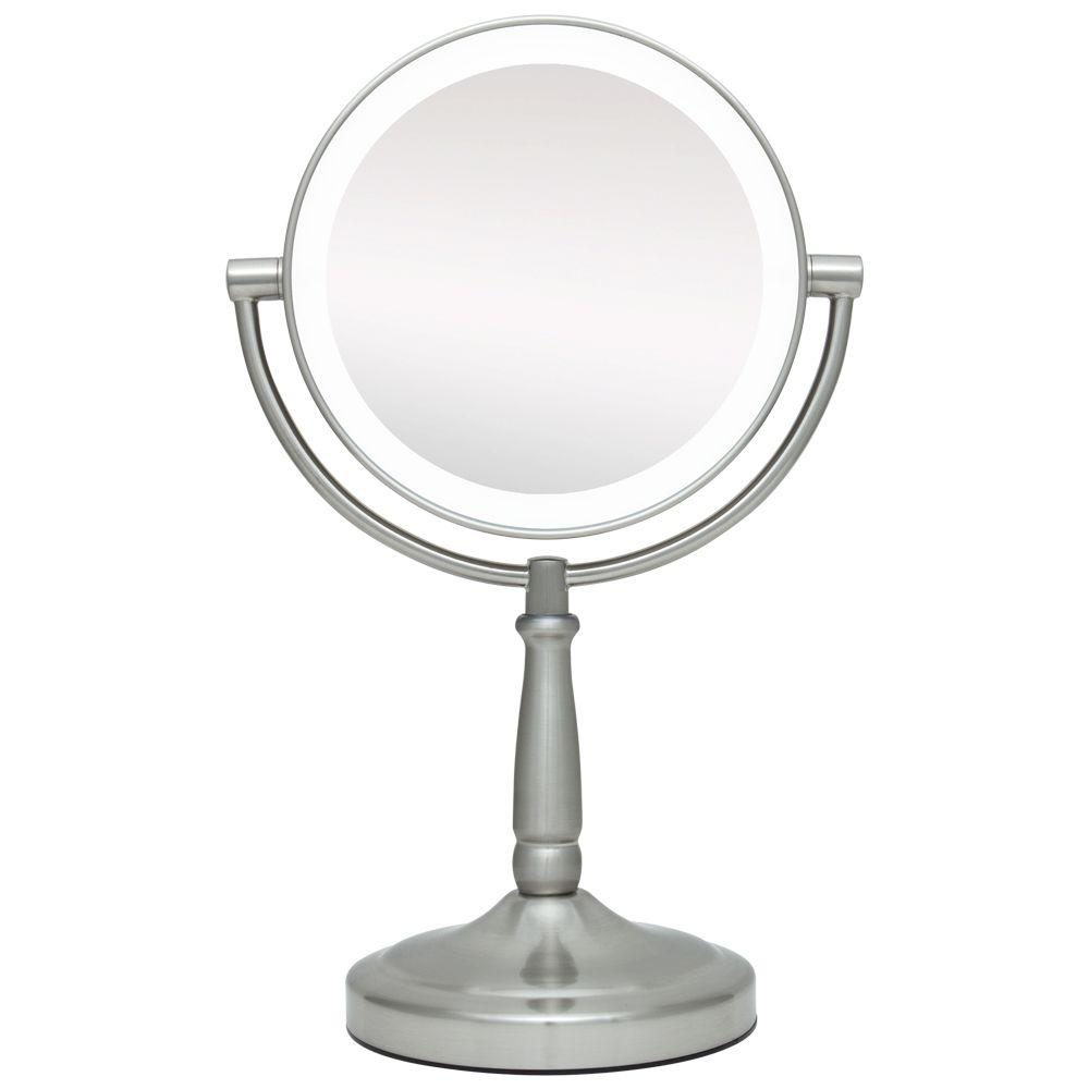 f959e71d5621 Zadro 9 in. x 14 in. LED Lighted Cordless Round 1X/10X Magnified Vanity  Makeup Mirror in Satin Nickel