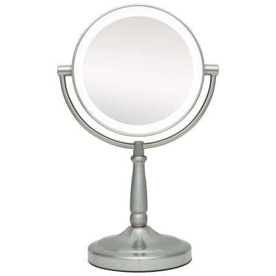 9 in. x 14 in. LED Lighted Cordless Round 1X/10X Magnified Vanity Mirror in Satin Nickel