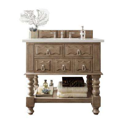 Castilian 36 in. W Single Vanity in Empire Gray with Soild Surface Vanity Top in Arctic Fall with White Basin