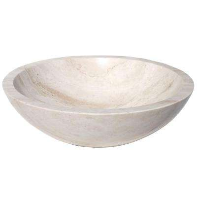 Round Stone Vessel Sink In White Travertine