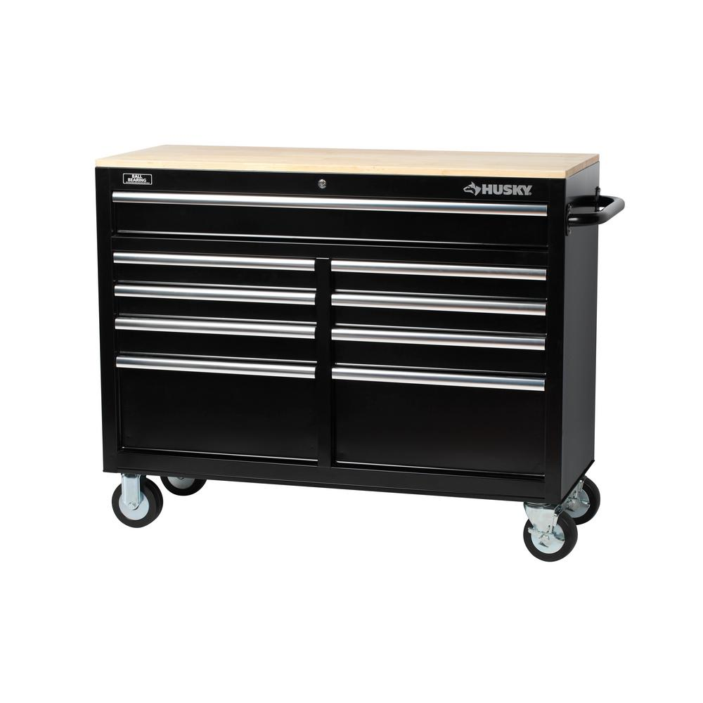 Husky 46 in. 9-Drawer Mobile Workbench with Solid Wood Top, Black ...