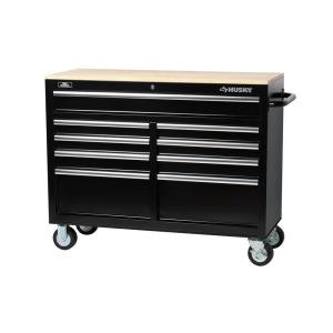 Husky 46 In 9 Drawer Mobile Workbench With Solid Wood Top Black 7440946r The Home Depot