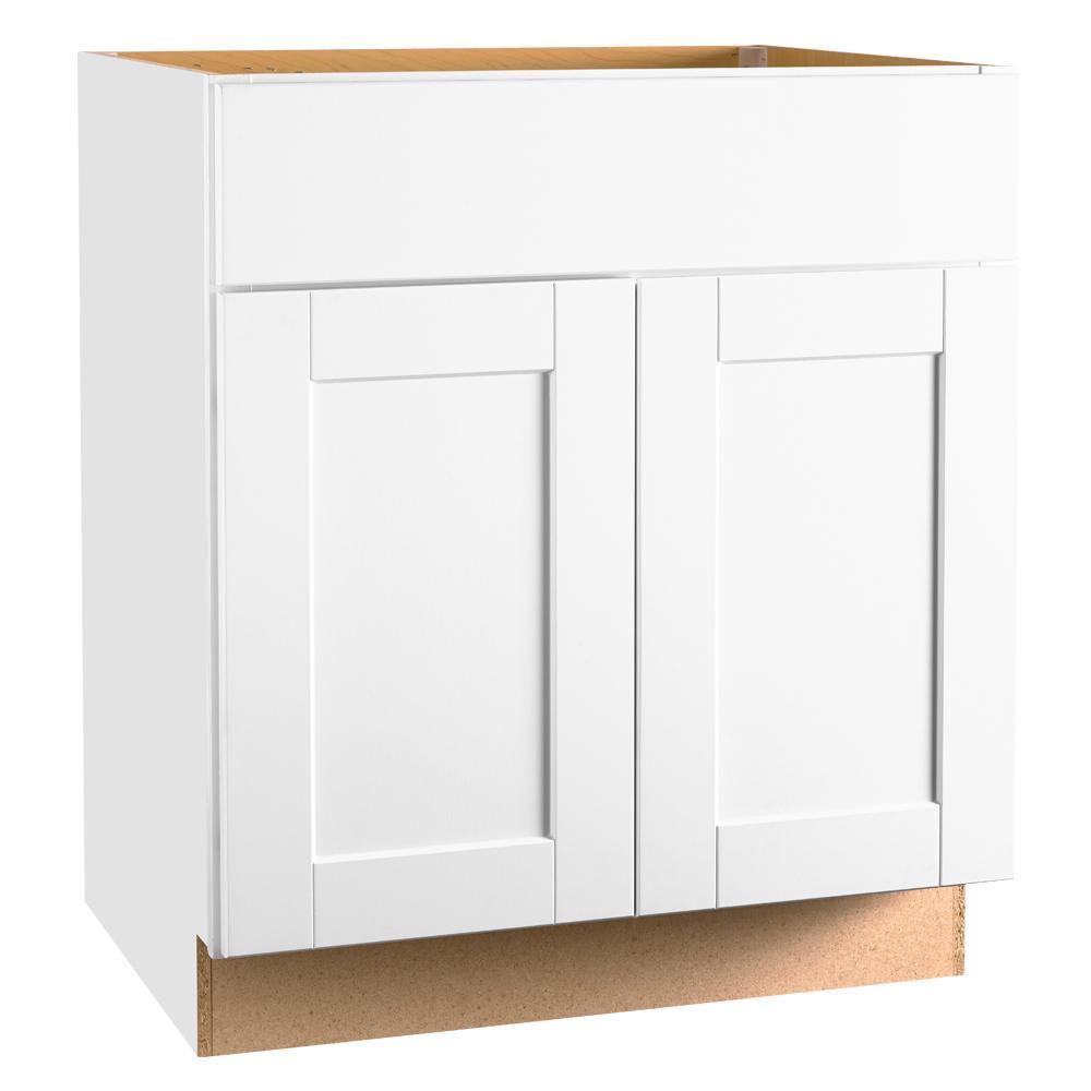 Hampton bay shaker assembled 30 x 34 5 x 21 in base bath vanity cabinet in satin white kvsb30 for 30 x 21 bathroom vanity white