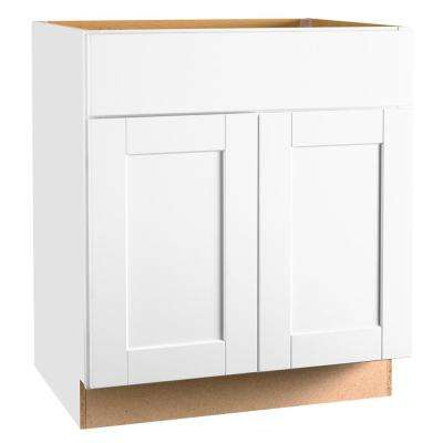 Shaker Assembled 30 x 34.5 x 21 in. Base Bath Vanity Cabinet in Satin White