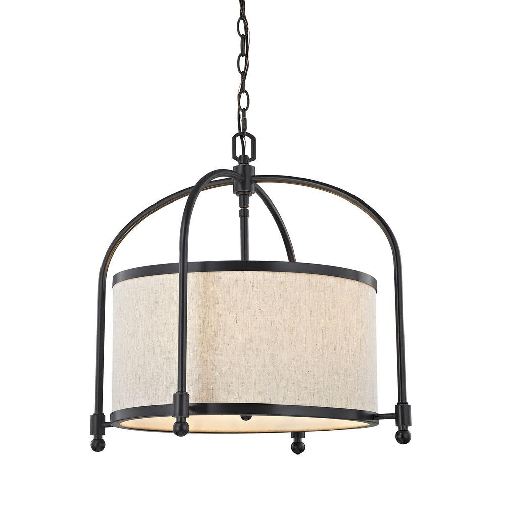 Fifth and Main Lighting 5-Light Oil-Rubbed Bronze Dinette Pendant with Beige Linen Shade