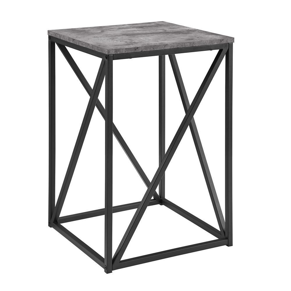 16 in. Dark Concrete Modern Geometric Square Side Table
