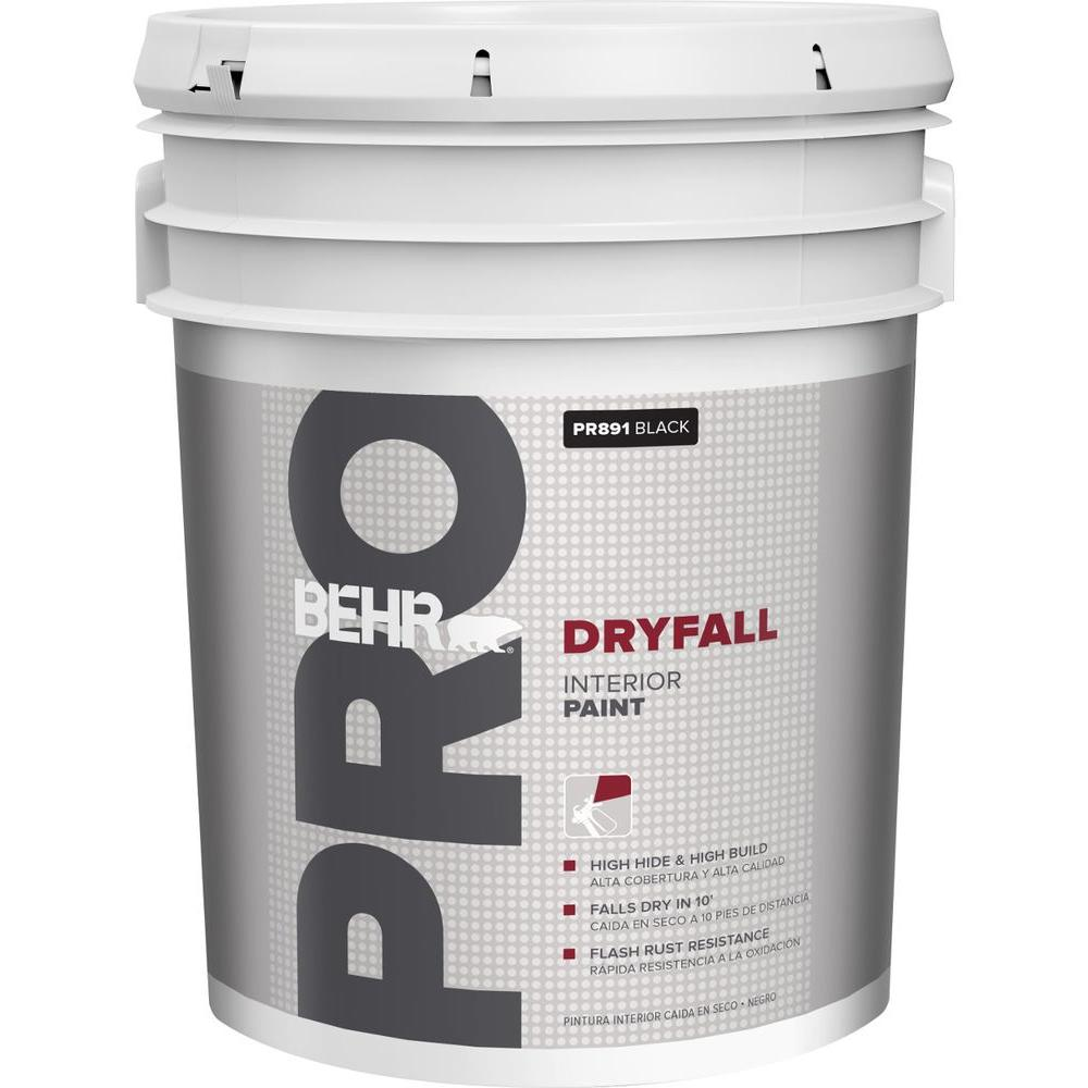Behr Pro 5 Gal Black Dryfall Interior Paint Pr89105 The Home Depot