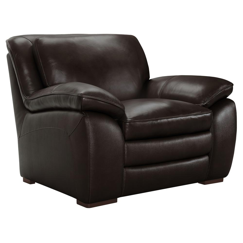 Armen Living Zanna Genuine Dark Brown Leather Contemporary Chair with Brown