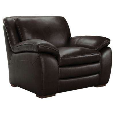 Armen Living Zanna Genuine Dark Brown Leather Contemporary Chair with Brown Wood Legs