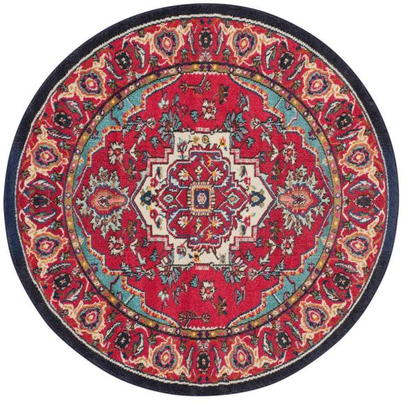 Monaco Red/Turquoise 5 ft. x 5 ft. Round Area Rug