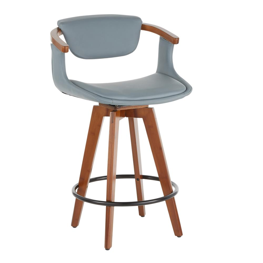 Cool Lumisource Oracle 26 In Mid Century Modern Counter Stool In Grey Faux Leather Walnut Machost Co Dining Chair Design Ideas Machostcouk