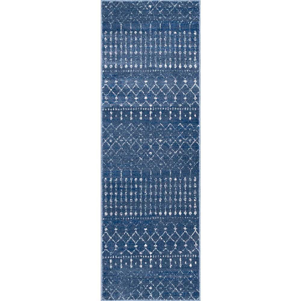 Blythe Modern Moroccan Trellis Dark Blue 3 ft. x 10 ft. Runner