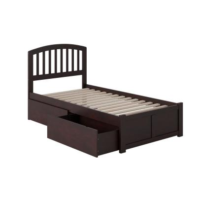 Richmond Espresso Twin Platform Bed with Flat Panel Foot Board and 2-Urban Bed Drawers