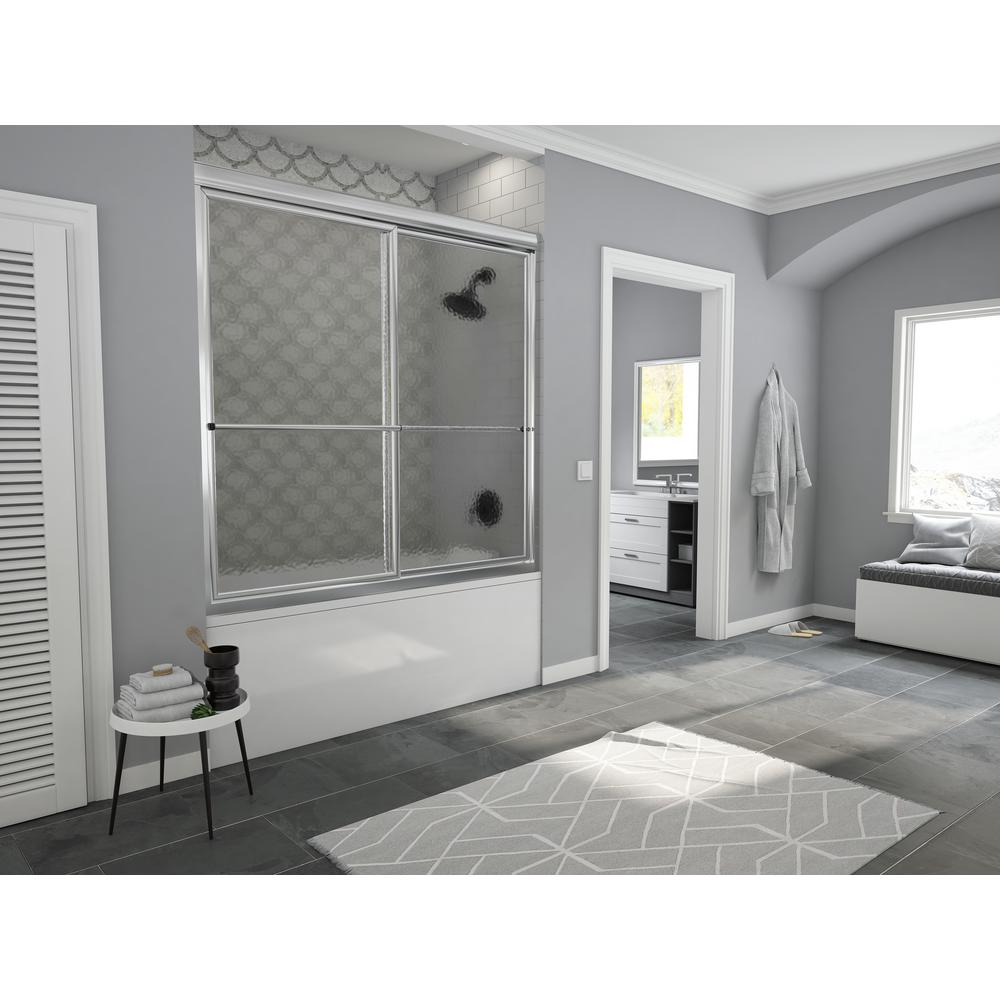 Coastal Shower Doors Newport 60 in. to 61.625 in. x 58 in. Framed Sliding Bathtub Door with Towel Bar in Chrome with Aquatex Glass