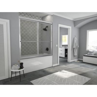 Newport 60 in. to 61.625 in. x 58 in. Framed Sliding Bathtub Door with Towel Bar in Chrome with Aquatex Glass
