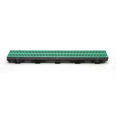Compact Series 5.4 in. Wide x 3.2 in. High x 39.4 in. Long Black Channel and Green Grate with Bottom Outlet