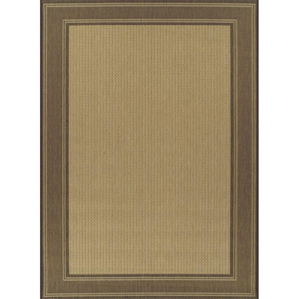 Martha Stewart Living Border Beige and Chocolate 5 ft. 3 in. x 7 ft. 4 in. Indoor and Outdoor Rug-DISCONTINUED