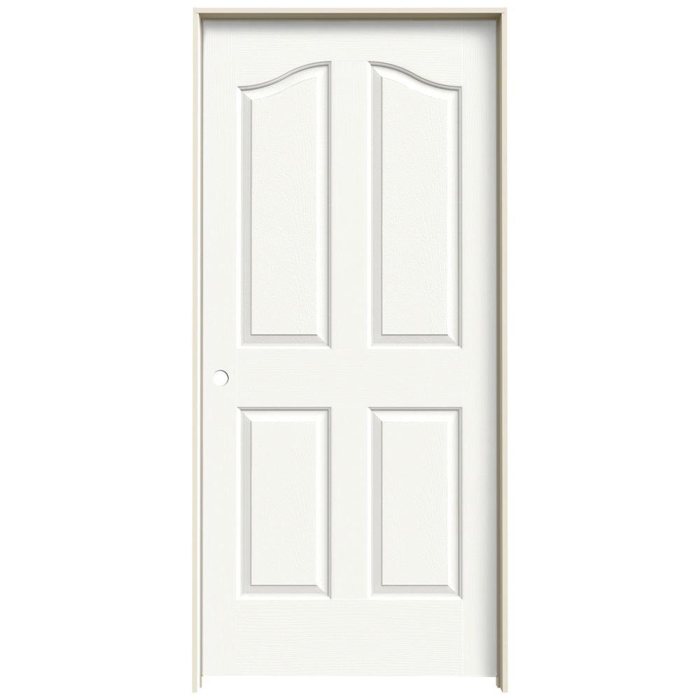 36 in. x 80 in. Provincial White Painted Right-Hand Smooth Molded
