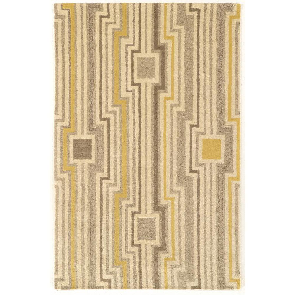 Linon Home Decor Aspire Wool Board Grey Yellow 2 Ft X 3 Accent Rug