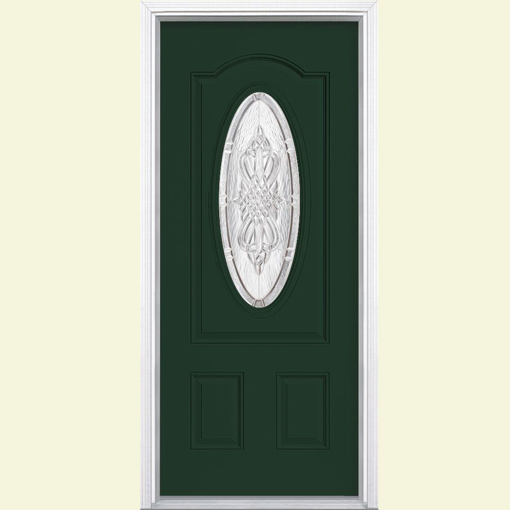 Masonite 36 in. x 80 in. New Haven 3/4 Oval-Lite Left Hand Inswing Painted Steel Prehung Front Door with Brickmold, Vinyl Frame