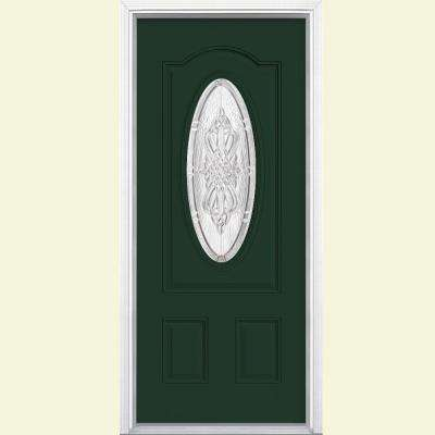 New Haven 3/4 Oval Lite Painted Steel Prehung Front Door with Brickmold
