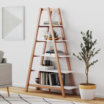 Carlie White and Brown 5-Shelf Ladder Bookcase