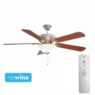 Rothley 52 in. LED Indoor Brushed Nickel Smart Ceiling Fan with Light Kit and WINK Remote Control