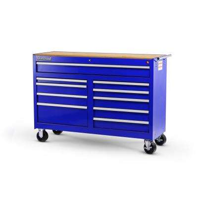 Workshop Series 54 in. 10-Drawer Cabinet with Wood Top, Blue