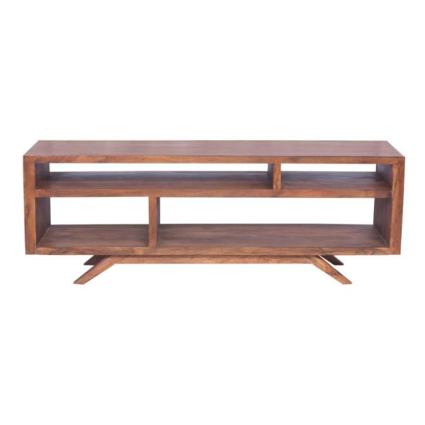 Brown Mid Century Modern Acacia Wooden TV Console with Splayed Legs