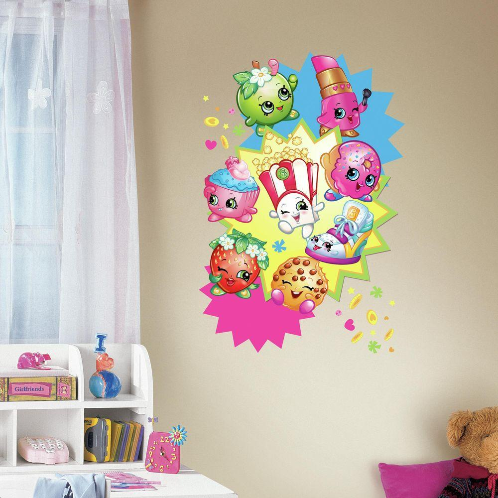 Roommates 25 in w x 27 in h shopkins burst peel and stick giant roommates 25 in w x 27 in h shopkins burst peel and stick giant wall decal rmk3156tb the home depot amipublicfo Choice Image