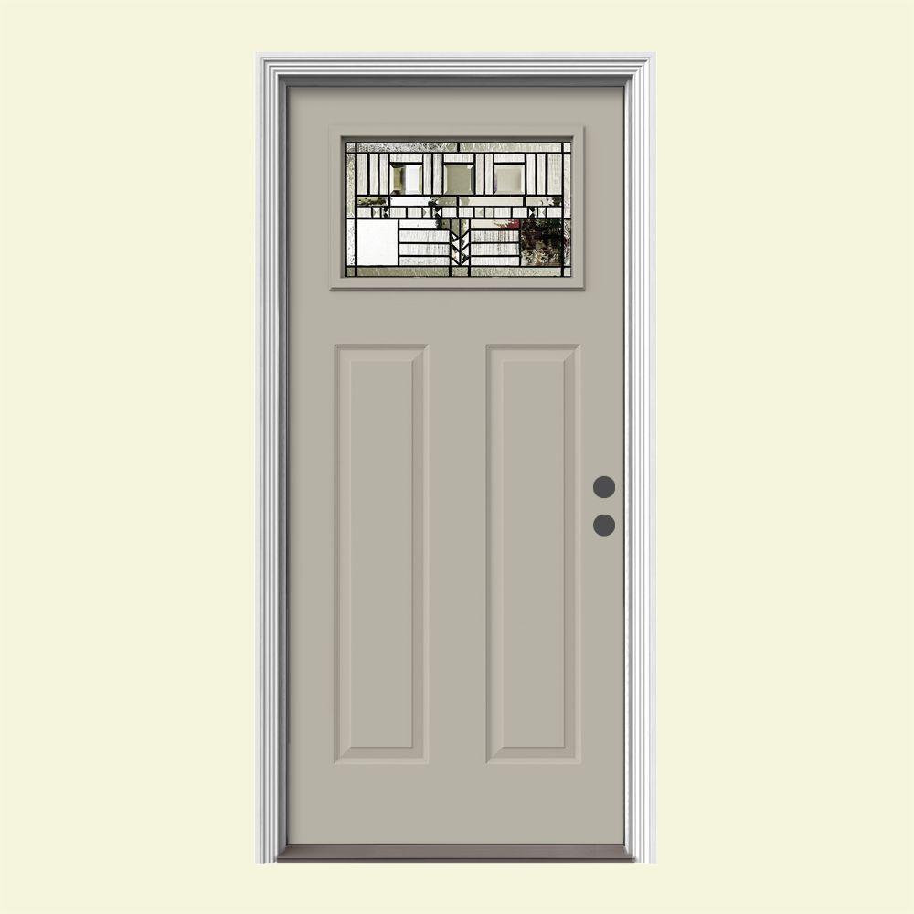 JELD-WEN 36 in. x 80 in. 1 Lite Craftsman Oak Park Desert Sand Painted Steel Prehung Left-Hand Inswing Front Door w/Brickmould