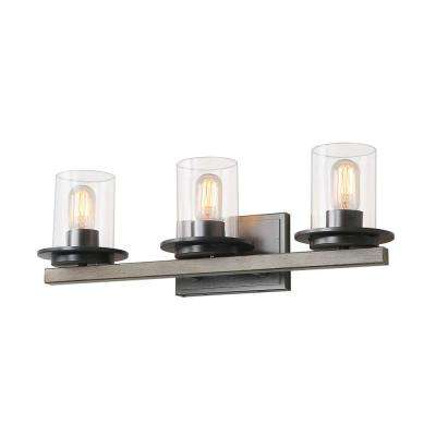 3-Light Dark Gray Vanity Sconces Clear Glass Bath Light