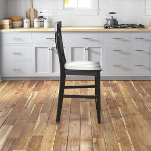 HOMESTYLES Nantucket Black Kitchen Island with Wood Top and ...