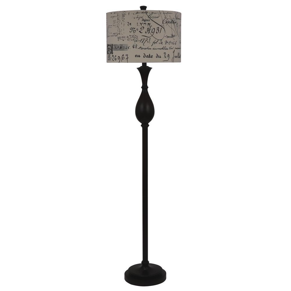 Selene 60 in. Brown Floor Lamp with Linen Shade
