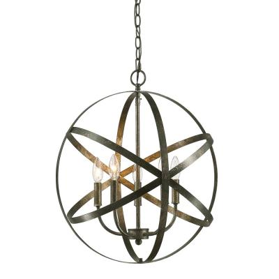 20 in. 5-Light Antique Silver Outdoor Pendant