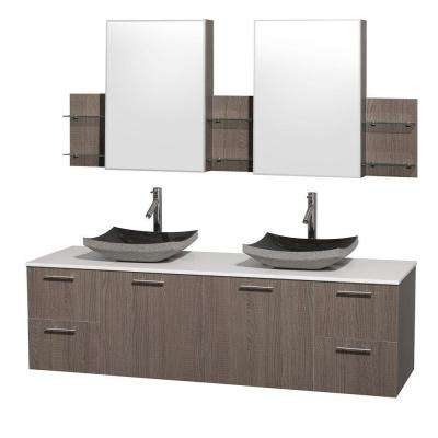 Amare 72 in. Double Vanity in Grey Oak with Man-Made Stone Vanity Top in White and Black Granite Sinks