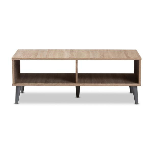 Pierre 40 in. Oak/Dark Gray Medium Rectangle Wood Coffee Table with Shelf