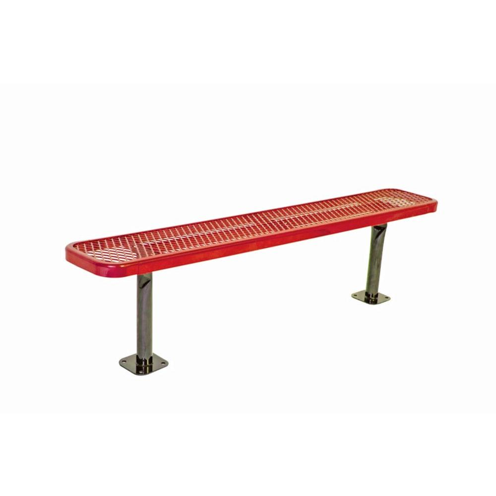 Ultra Play 6 in. Diamond Red Commercial Park Bench without Back Surface Mount