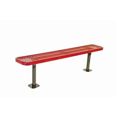 6 in. Diamond Red Commercial Park Bench without Back Surface Mount