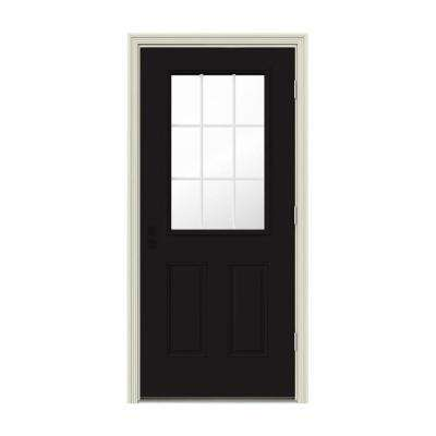 32 in. x 80 in. 9 Lite Black Painted w/ White Interior Steel Prehung Left-Hand Outswing Front Door w/Brickmould
