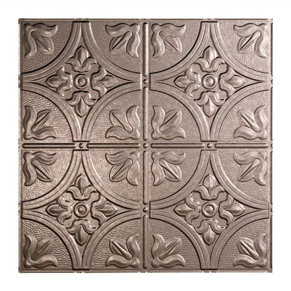 Fasade Traditional 2 - 2 ft. x 2 ft. Lay-in Ceiling Tile in Galvanized Steel