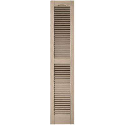 12 in. x 60 in. Louvered Vinyl Exterior Shutters Pair in #023 Wicker