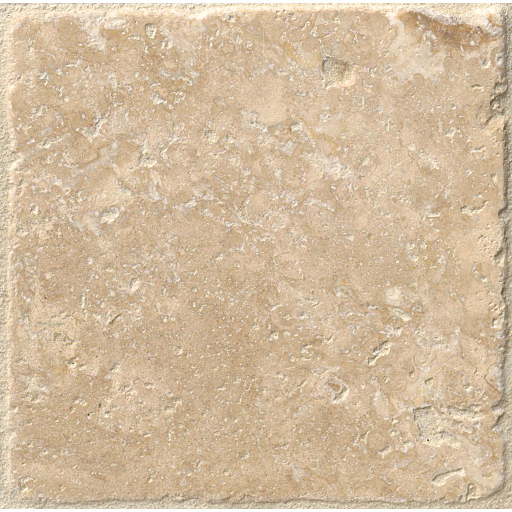 Chiaro 4 in. x 4 in. Tumbled Travertine Floor and Wall