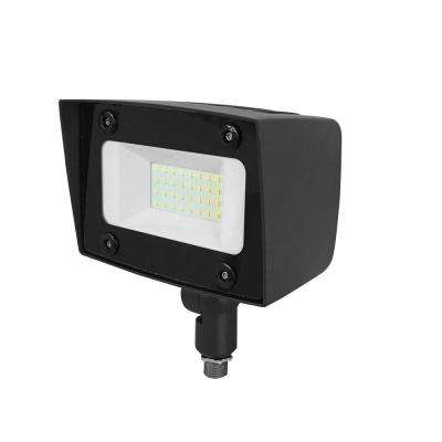 Asimo 20-Watt Bronze Outdoor Integrated LED Flood Light with Integrated Photocell Dimming Driver Knuckle Mount