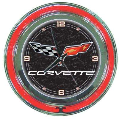 14 in. Black Corvette C6 Neon Wall Clock